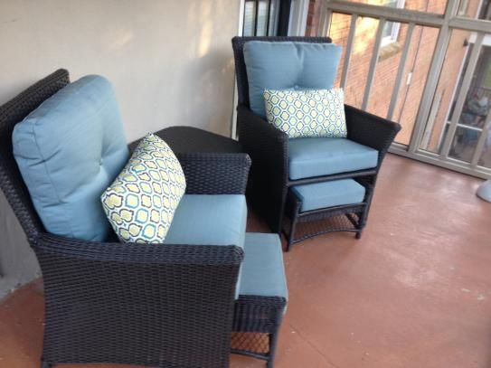 Hampton Bay Blue Hill 5-Piece Patio Conversation Set with Blue-Green Cushions S140071-02-58T at The Home Depot - Mobile