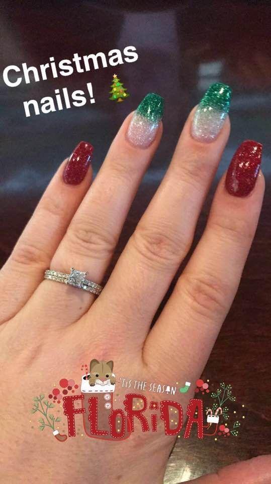 Nexgen Christmas Nails Red Glitter And White Glitter Green Glitter Ombre Christmas Nails Glitter Christmas Nails Holiday Nails Glitter
