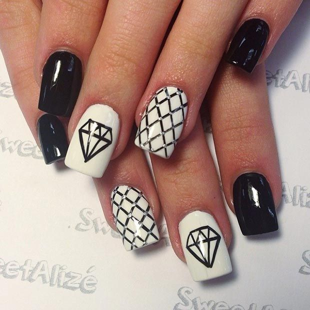 50 Best Black and White Nail Designs. Diamond ... - 50 Best Black And White Nail Designs White Nail Designs, White