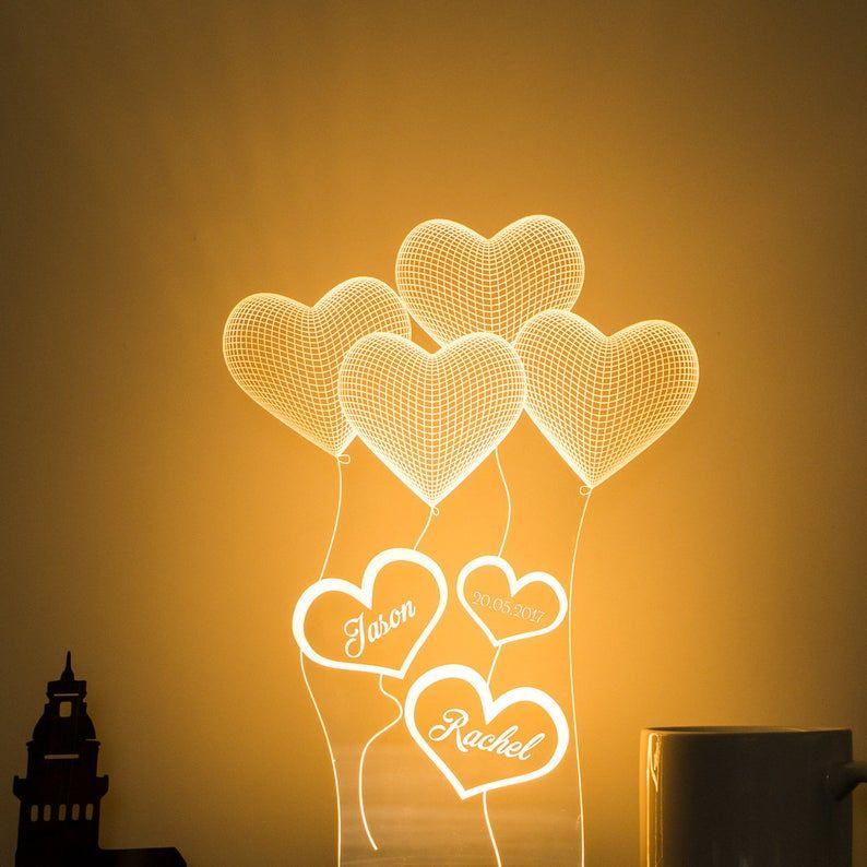 Cadeau Personnalise De Lampe 3d Dillusion Pour Elle Cadeau Etsy 3d Illusion Lamp 3d Illusions 3d Night Light