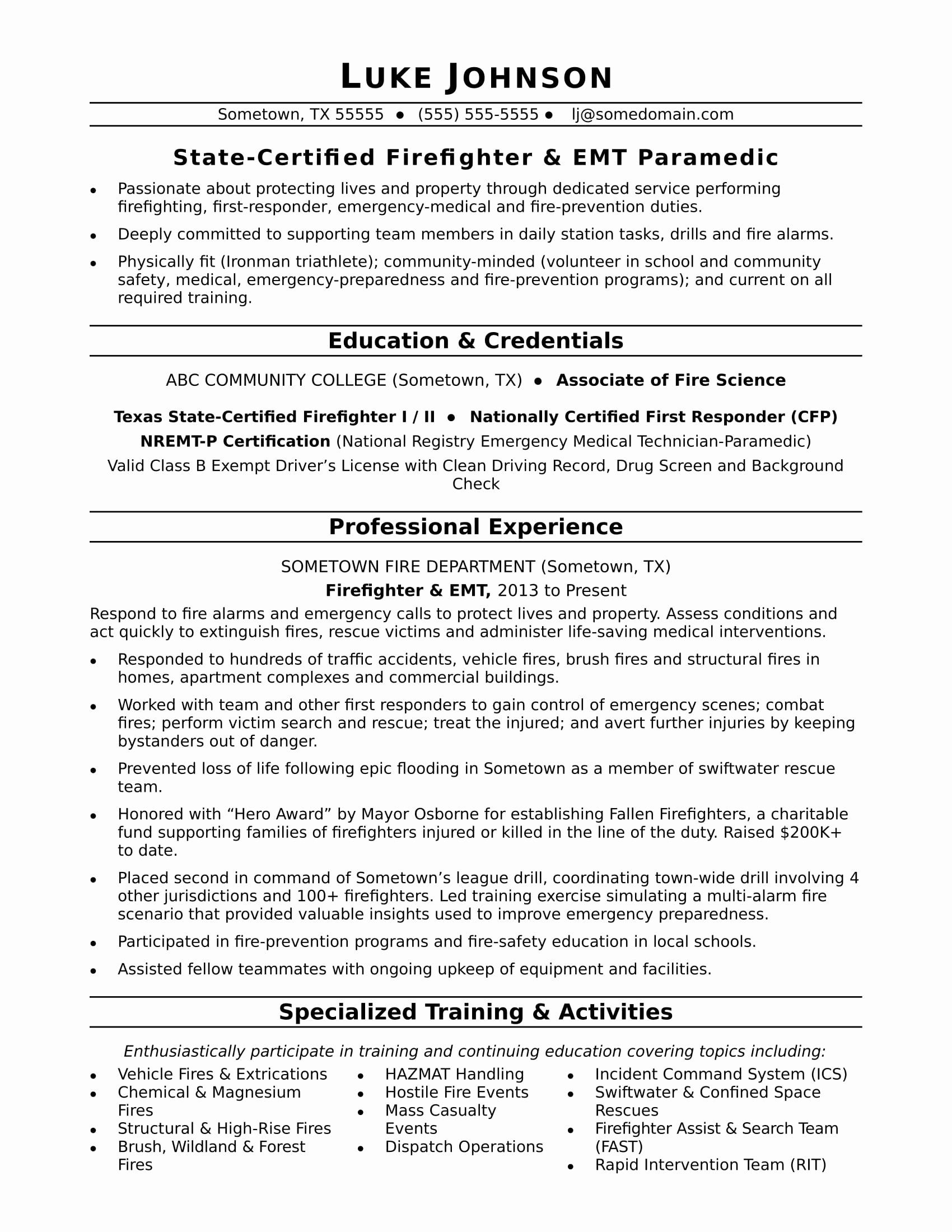 Certified Resume Writer Salary Elegant Firefighter Resume