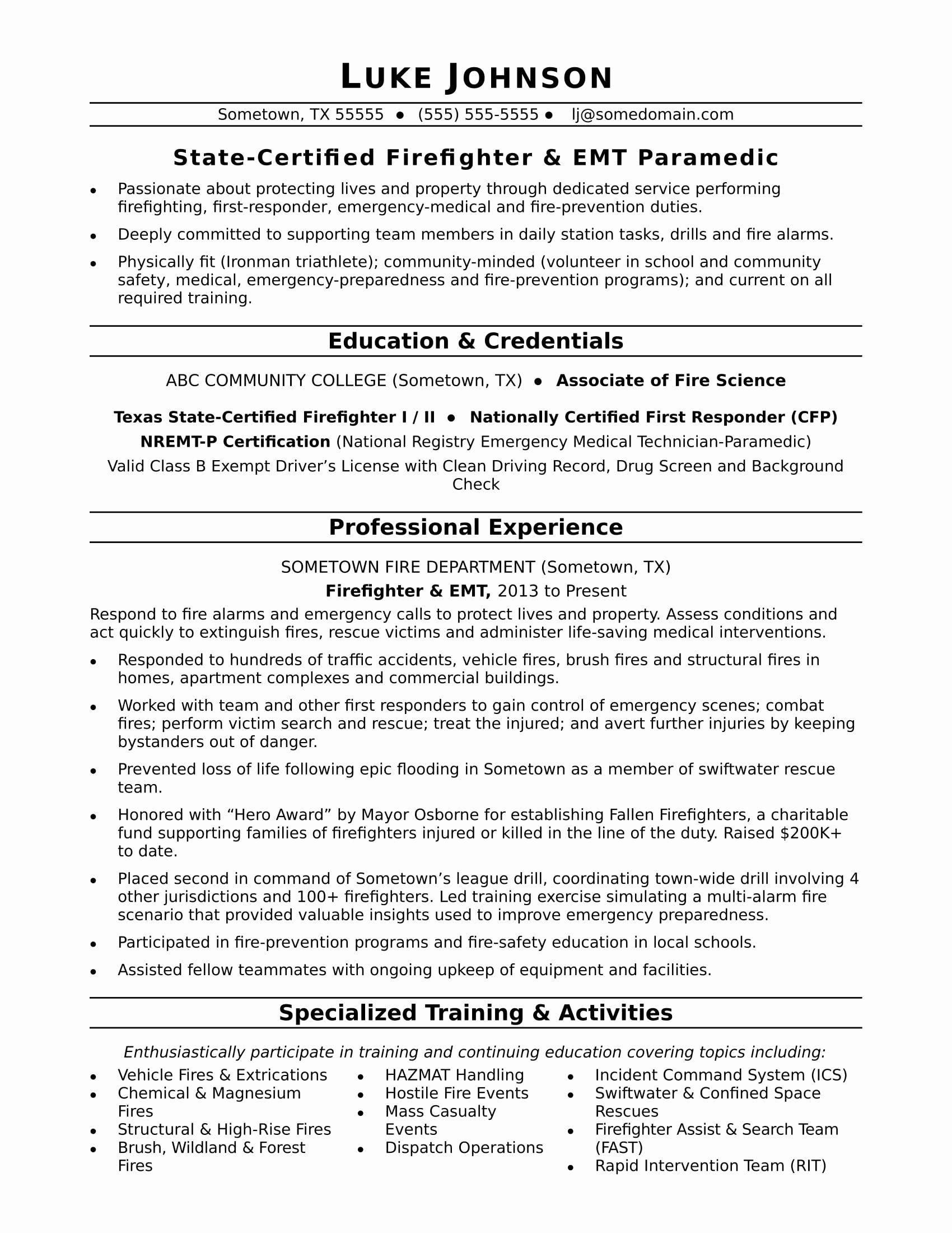 Certified Resume Writer Salary Elegant Firefighter Resume