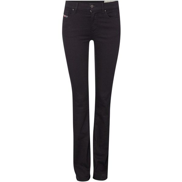 Diesel bootcut jeans ($68) ❤ liked on Polyvore featuring jeans, black, clearance, black jeans, stretch jeans, zipper jeans, black stretch jeans and diesel jeans