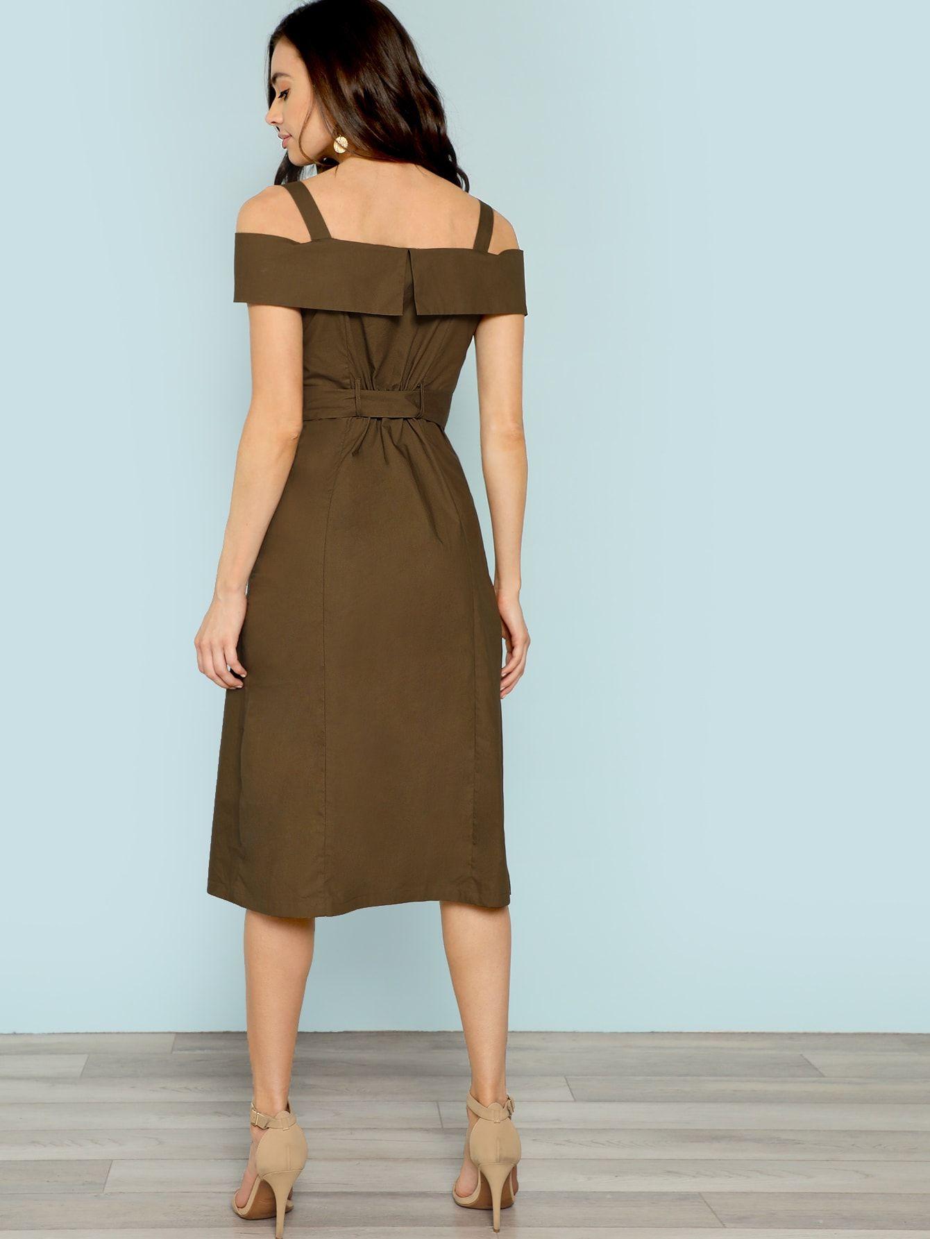 94b41c0d031802 Cold Shoulder Belted Trench Dress -SheIn(Sheinside)