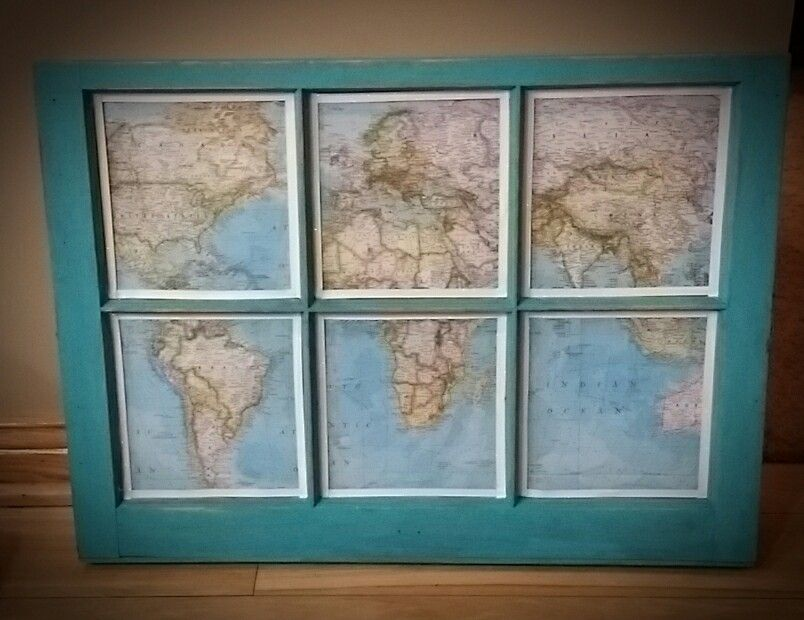 Map behind an old 6 pane window | Things I Have Done | Pinterest ...