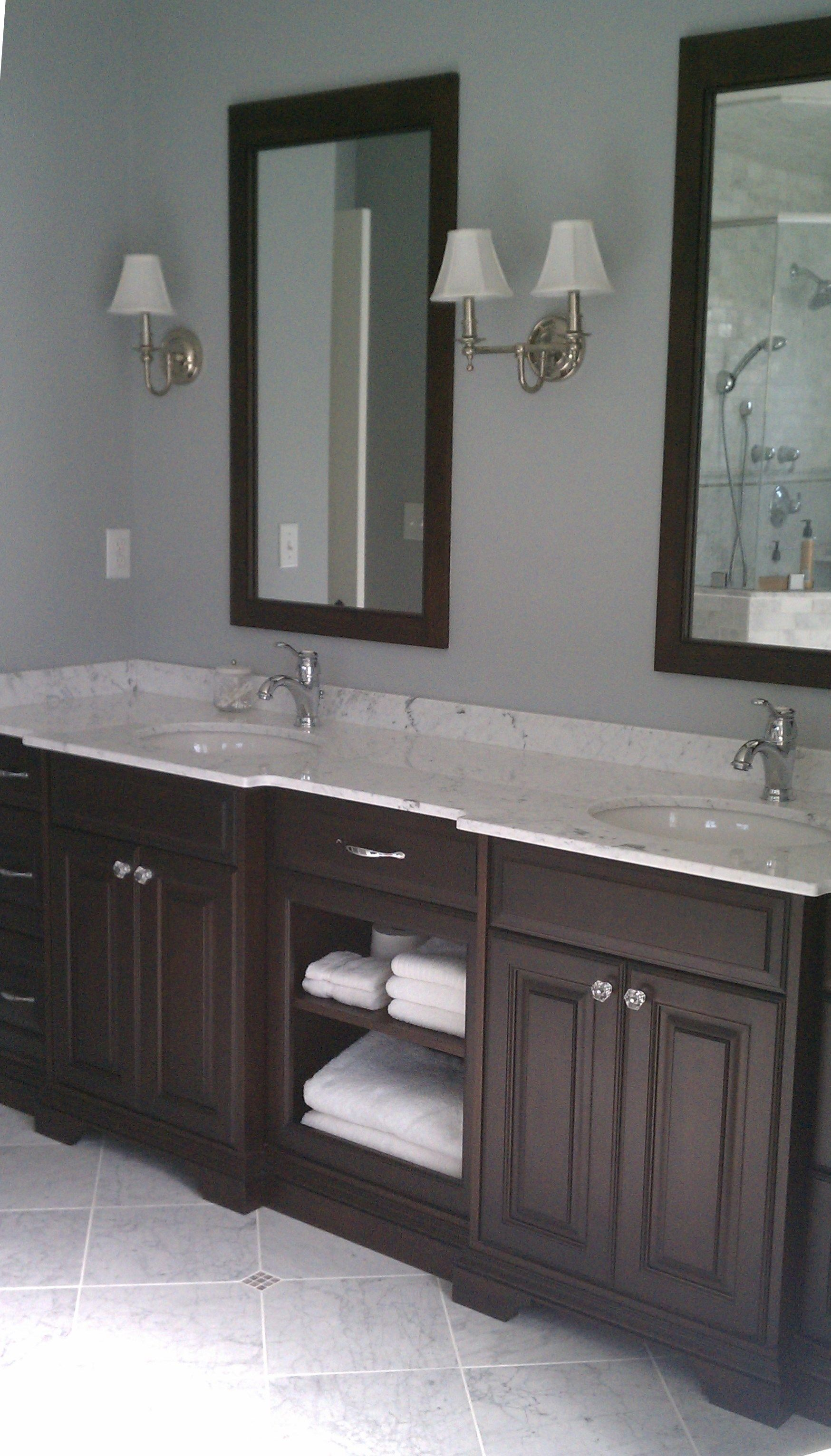 Dark Wood Double Custom Bathroom Vanity With Marble Top And Matching Mirrors This Updated Transition Custom Bathroom Vanity Dark Brown Bathroom Bathroom Decor [ 3064 x 1748 Pixel ]