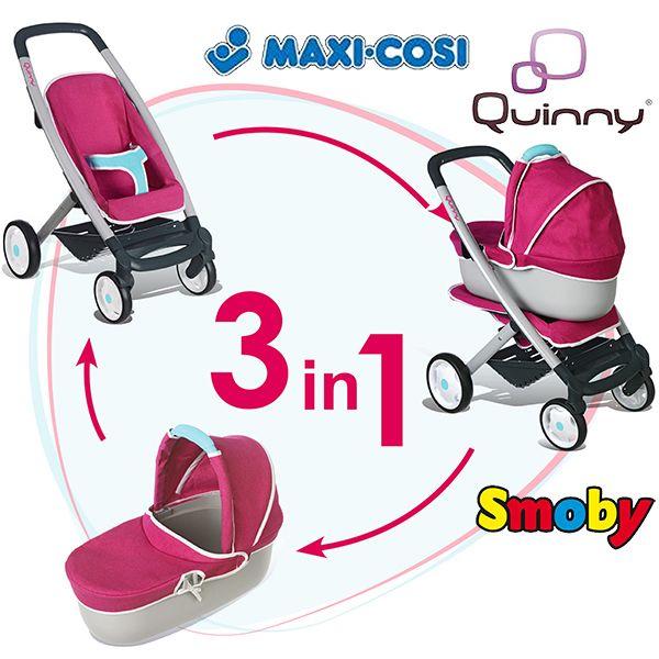 Quinny Buzz Xtra Pushchair In Purple Pace With Maxi Cosi: SMOBY Wózek DLA Lalek MAXI COSI QUINNY 3w1 +GRATIS