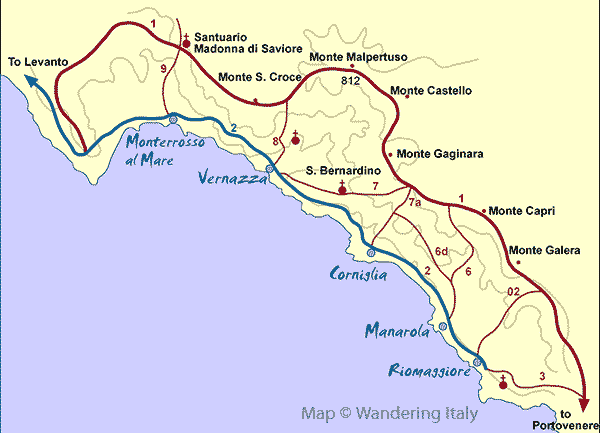 Cinque Terre Hiking Trails Map and Trekking Guide  Trail maps