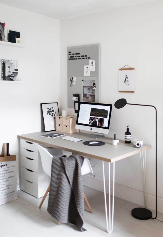 Minimalist Home Office Scandinavian Design Wall Art Mood Board White Desk Home Office Design Home Office Decor Home