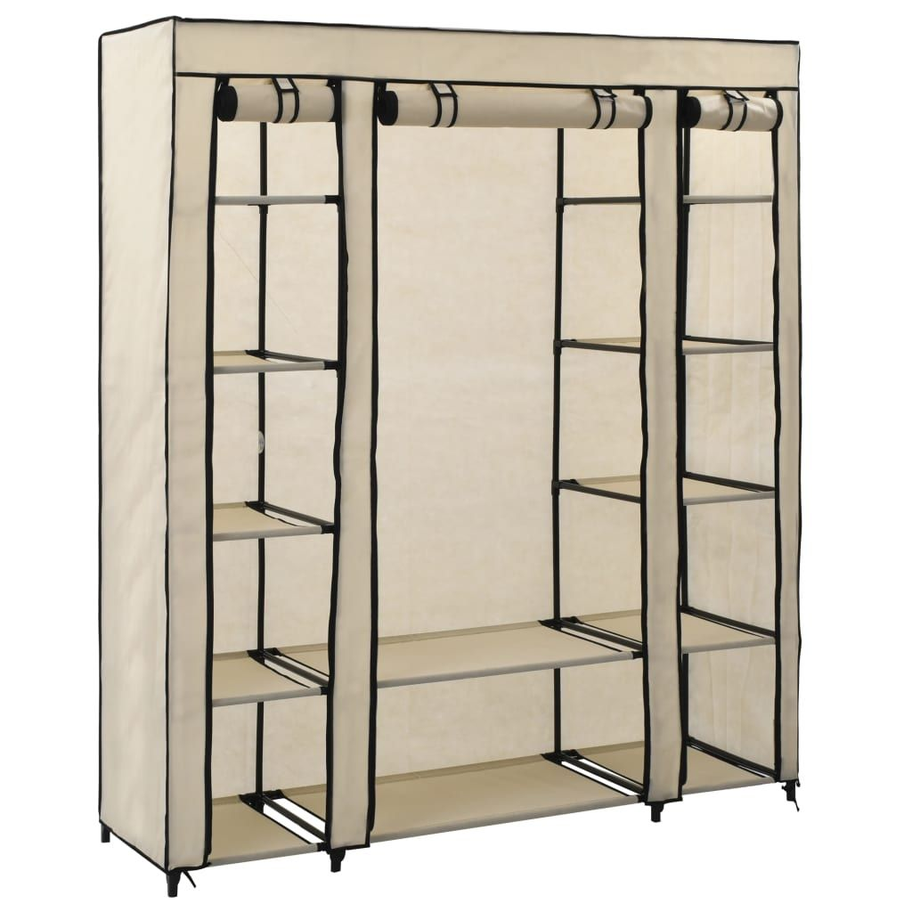 Fabric cabinet with compartments for clothes rails cream 150x45x176cm