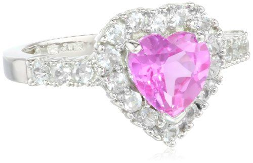 Worth Of 10k White Gold Heart Shaped Created Pink Sapphire And Round Created White Sapphire Heart Ring Heart Shaped Rings Valentine S Day Rings Pink Sapphire