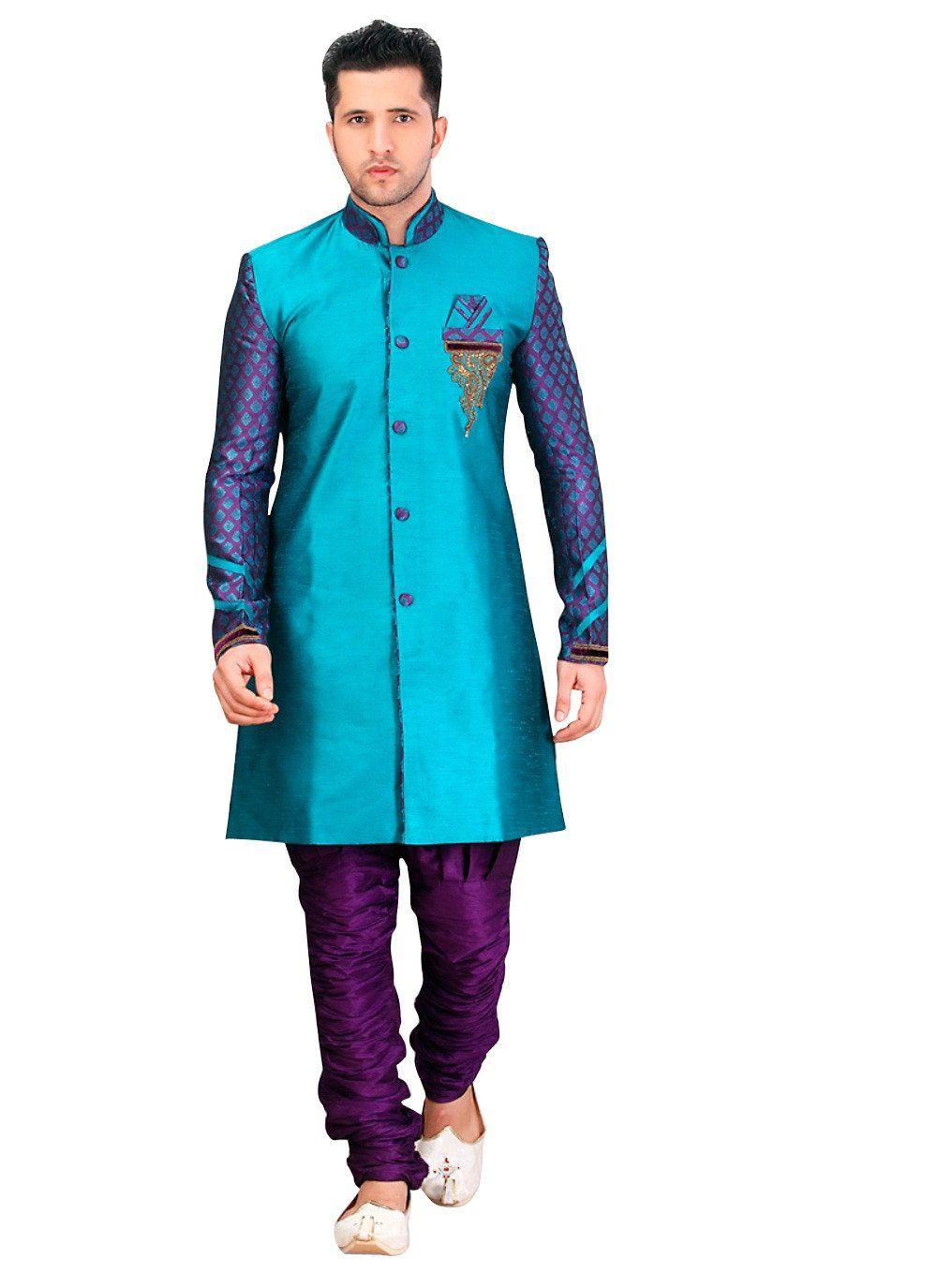 Blue Dupioni Raw Silk Indian Wedding Indo-Western Sherwani For Men ...