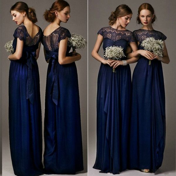 46633685874 2015 A Line Column Bridesmaid Dresses Jewel Neck Cap Sleeves Chiffon Navy  Blue Bridal Gowns Empired Ruched Evening Dress YBR10 2018 from  ilovewedding