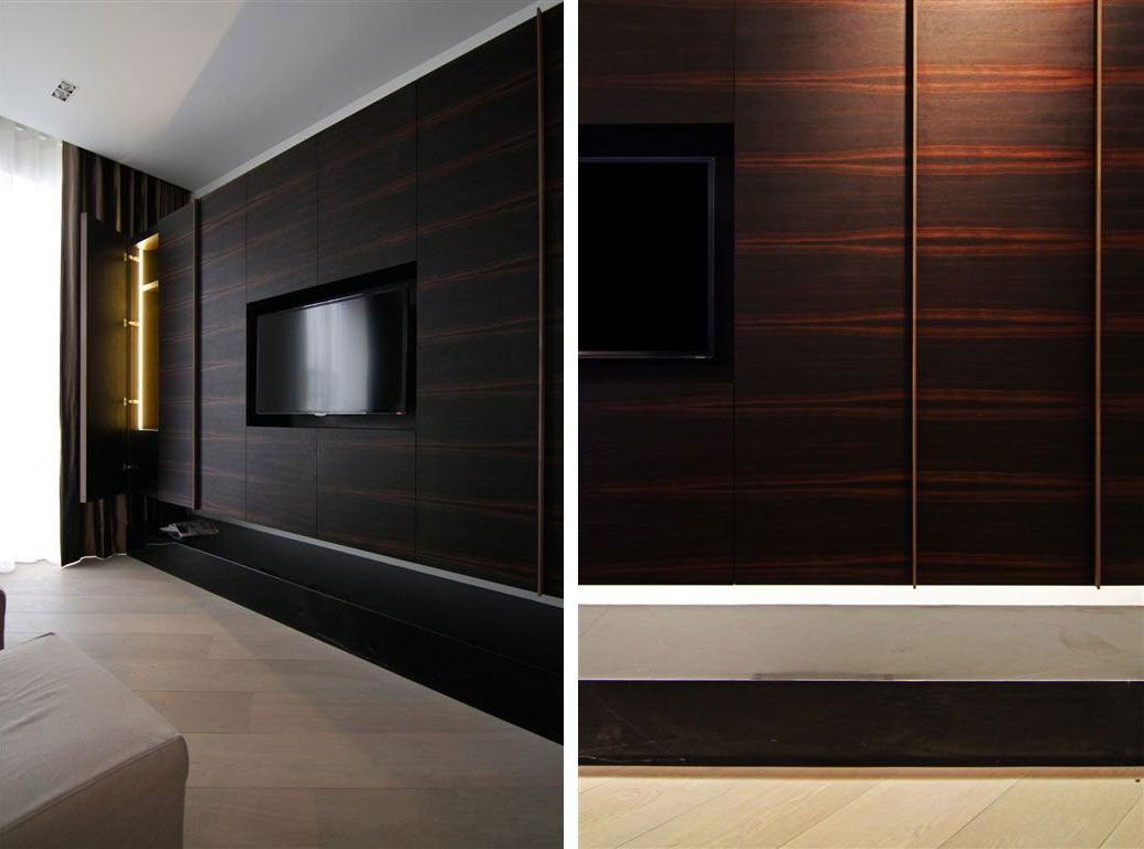 Bathroom Dark Laminate Wood Wall Panels With Mounted TV Ideas The Inside Awesome Basement Panelling Ideas
