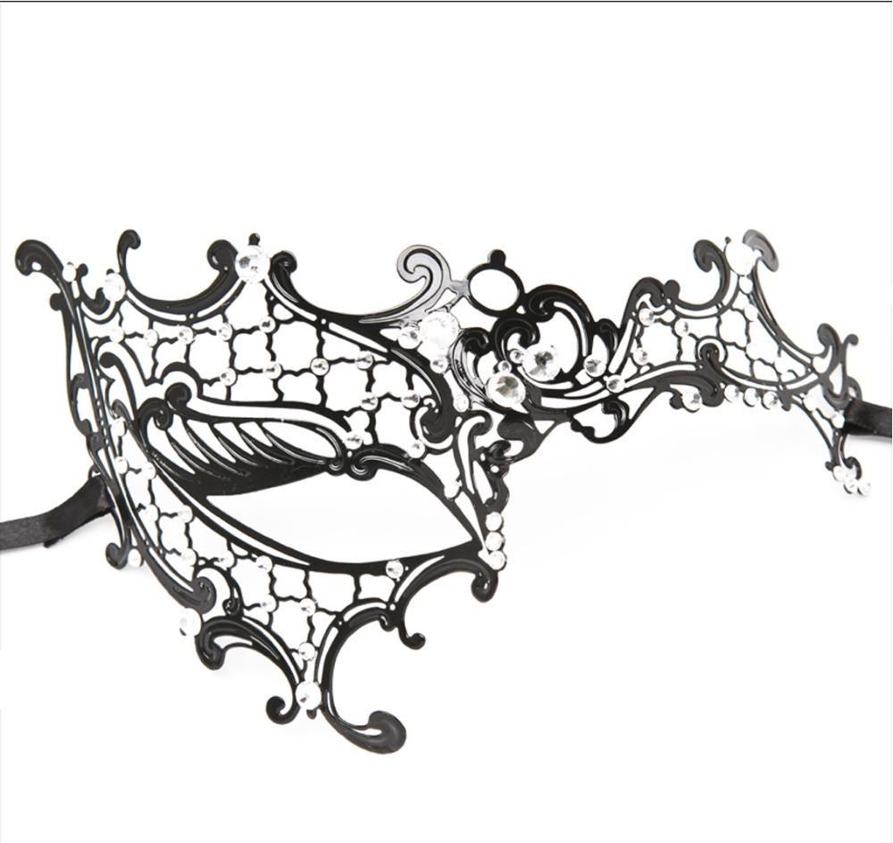 HalfEye Glossy Black Metal Filigree Mask For Venetian Masquerade Halloween  Party