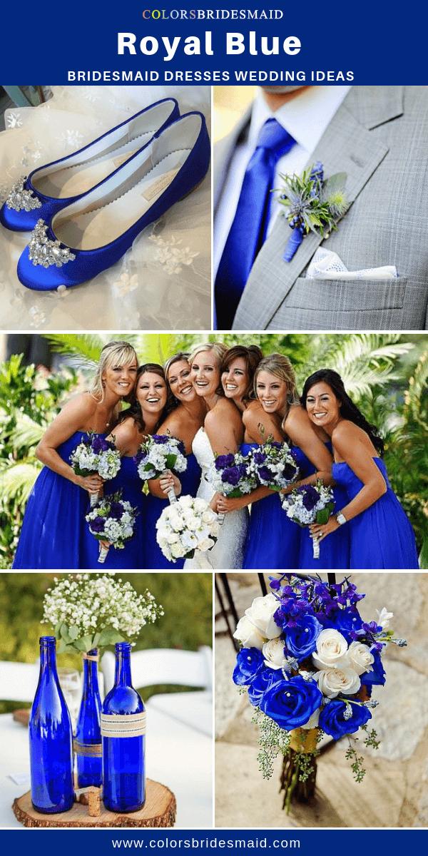 Summer Wedding Royal Blue Bridesmaid Dresses And Light Gray