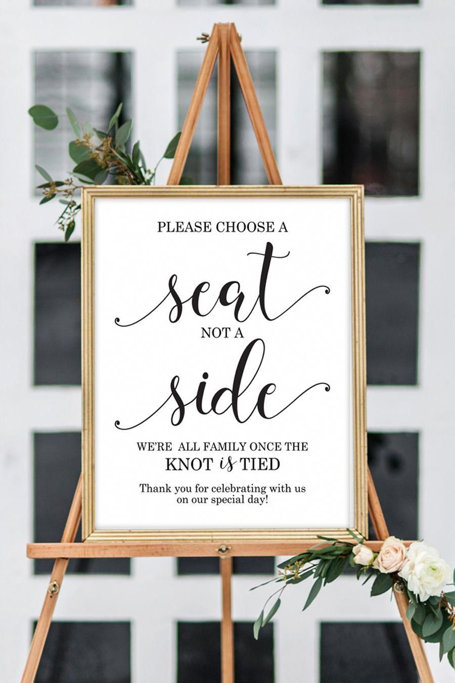Choose a seat not a side we're all family once the knot is