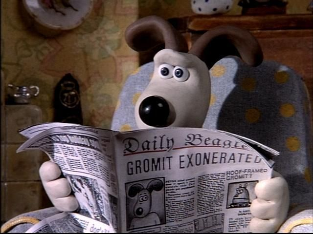 Image result for Gromit the dog reading newspaper