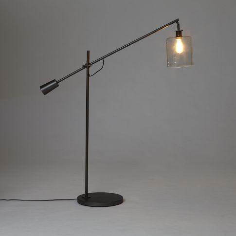 Adjustable Overarching Glass Floor Lamp West Elm Glass Floor