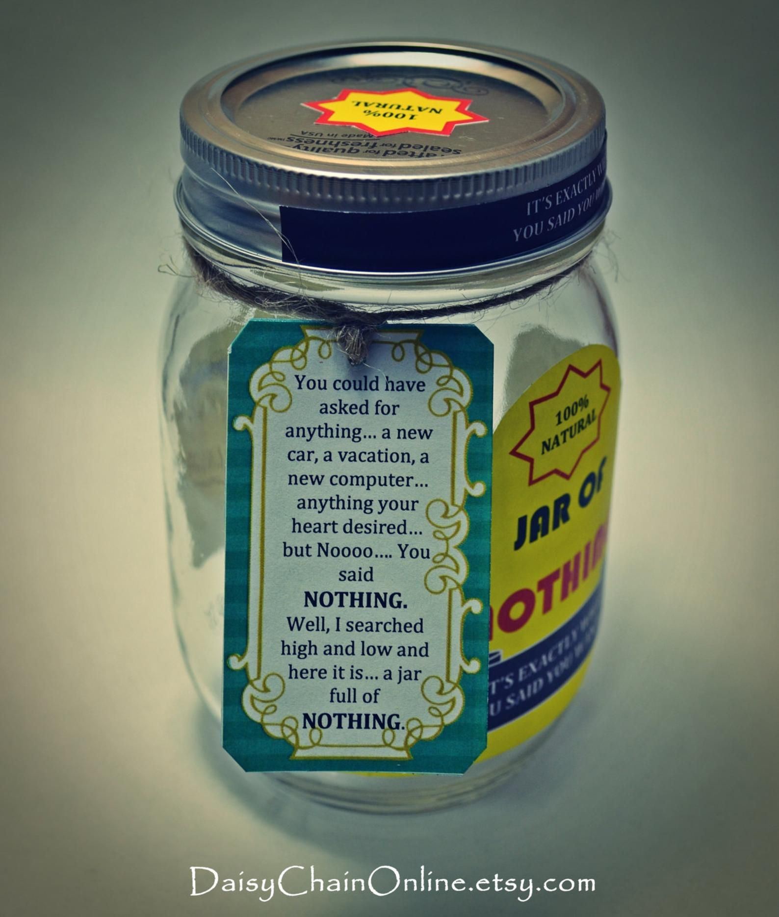 Best Gag Gift A Jar Of Nothing Funny Gift For Boyfriend Etsy Best Gag Gifts Diy Christmas Gifts For Men Christmas Gifts For Girlfriend