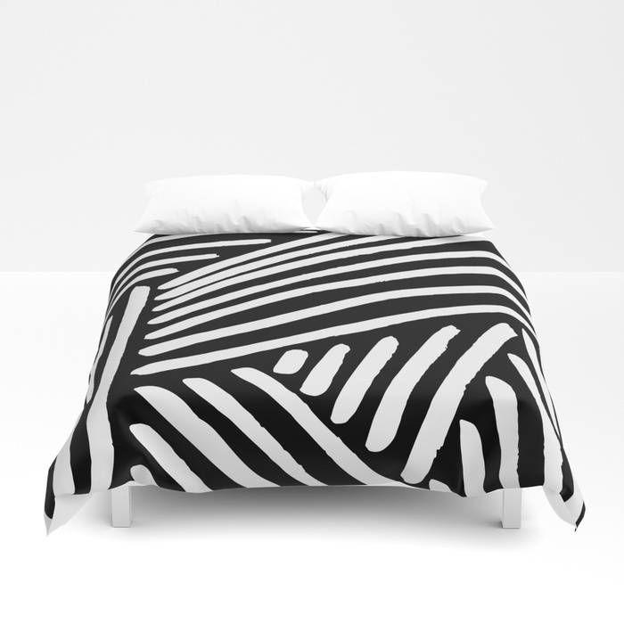 Geometric Stripes Duvet Cover Black And White Striped Duvet Covers White Duvet Covers Duvet Design