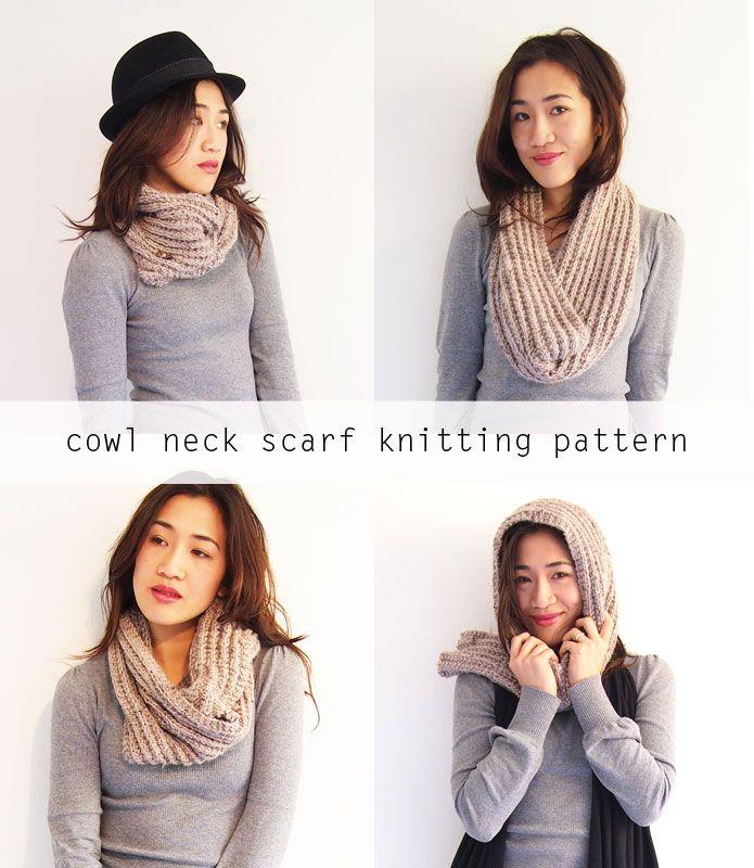 Free knitting pattern: Cowl neck convertible scarf | Knitting ...