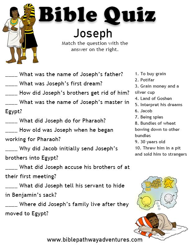 Free Bible Quiz: Joseph   Bible quiz, Bible lessons for kids, Bible study for kids