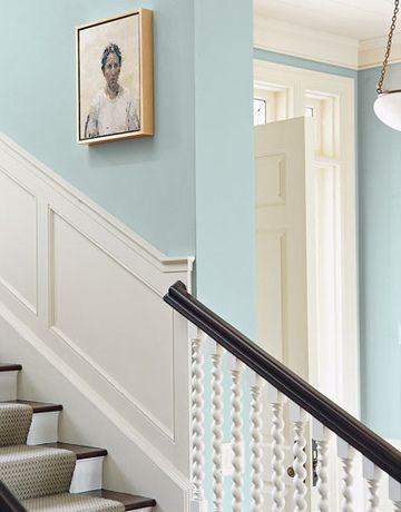 Pretty Blue Stairway Farrow Ball S Light Blue Lime White White Wainscoting Light Blue Walls Home