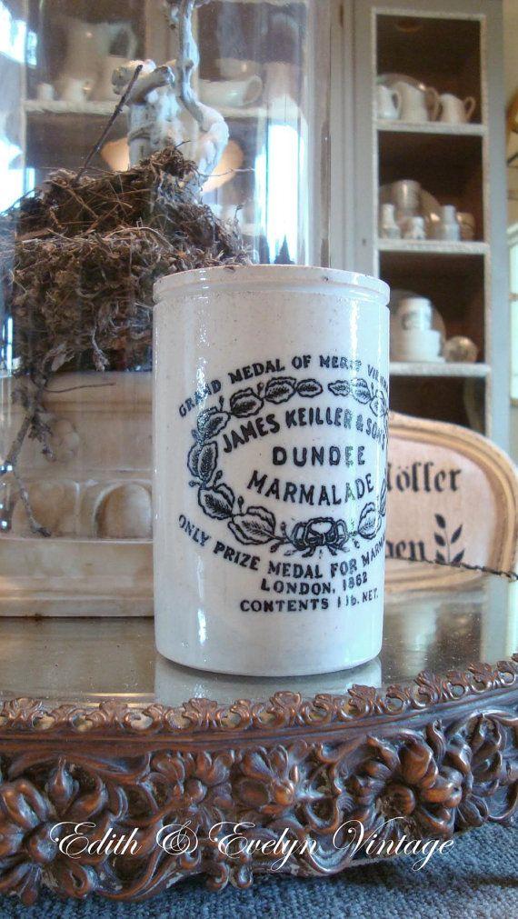 Vintage Dundee Marmalade Pot England Crock Jar Etsy Pottery Bottles Antique Crocks Old Crocks