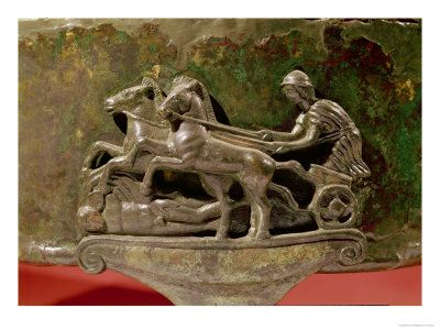 Charioteer in His Chariot, Detail from a Cist, 8th-1st Century BC Etruscan