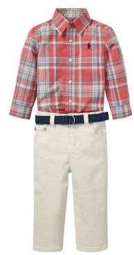 06a9d6f7eba7 Ralph Lauren Childrenswear Baby Boy's 3-Piece Plaid Shirt, Stretch Jeans &  Belt Set