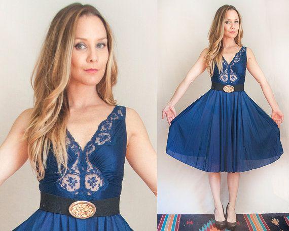 Gorgeous Navy Blue Lace Trim Dress | Womens 70s Slip Dress Size Small Medium XS | Knee Length Sheer Boho Classy Formal Summer Evening Dress