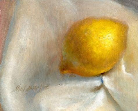 Lemon on White Silky Cloth 8 x10 Original Oil on panel Hall Groat II, painting by artist Hall Groat II