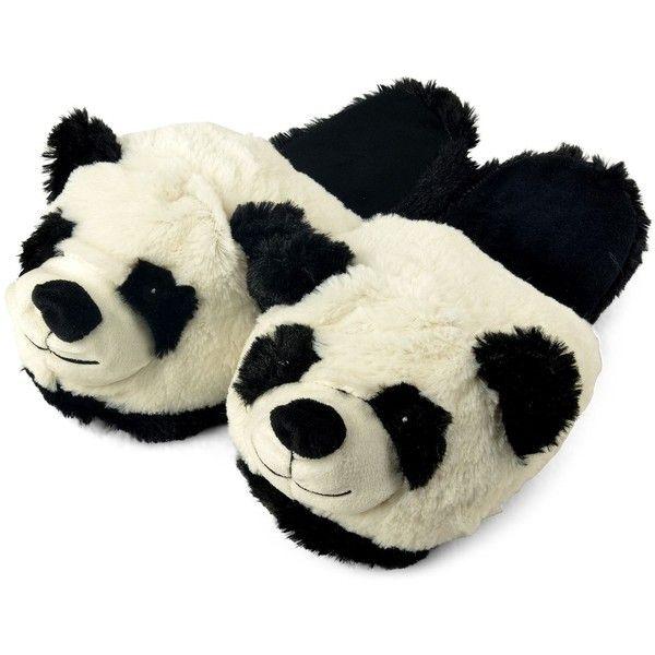 Zhu-Zhu Plush Animal Slippers Panda (38 BRL) ❤ liked on Polyvore featuring shoes, slippers, pajamas, pijamas and sapatos