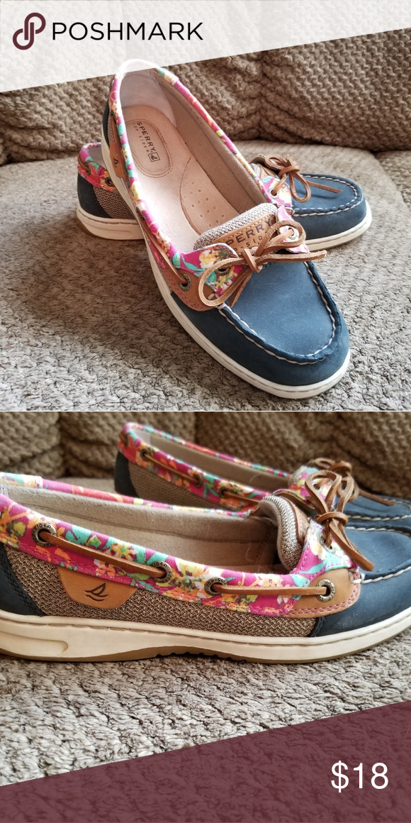0323fcb92f8 Womens Sperry shoes Beautiful blueish  floral print Sperry dock siders.  Sperry Shoes Flats   Loafers
