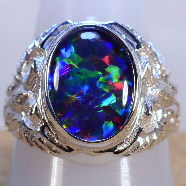 Opal Ring Big Mans Solid 925 Silver Genuine Australian Opal Ring 13273a Silver Ring Designs Australian Opal Ring Mens Gemstone Rings