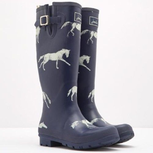 Joules Welly Rain Boots - Horse Print | The Cheshire Horse