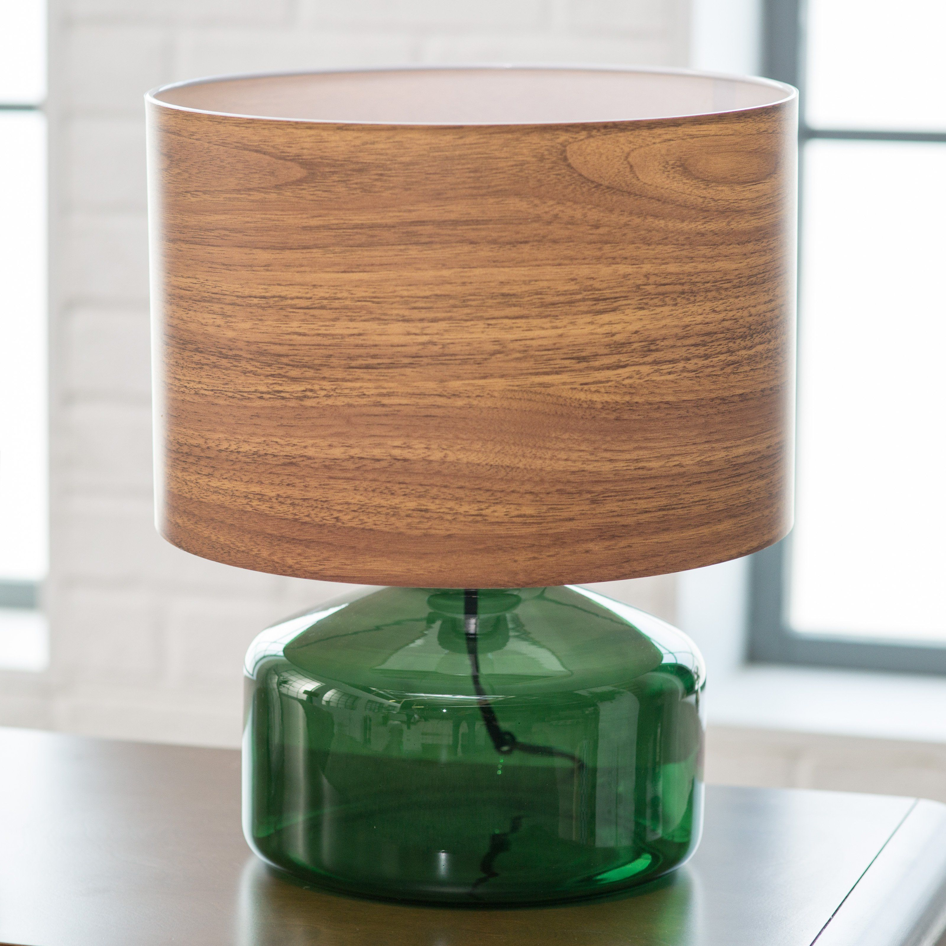 Beautiful Green Glass Base With Contemporary Wood Lampshade! Adesso Jade Table Lamp |  From Hayneedle