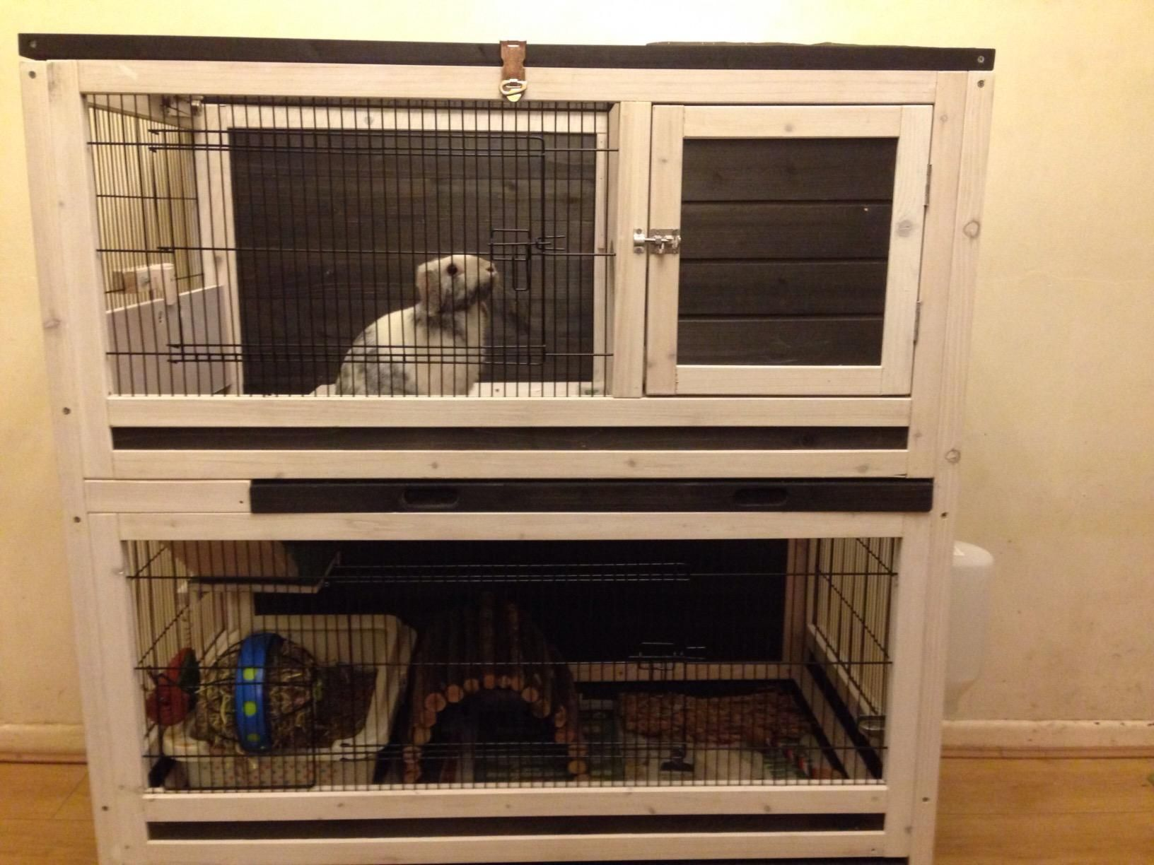 Small pet cage indoor lounge 2 storey wooden rabbits or for Wooden guinea pig cage