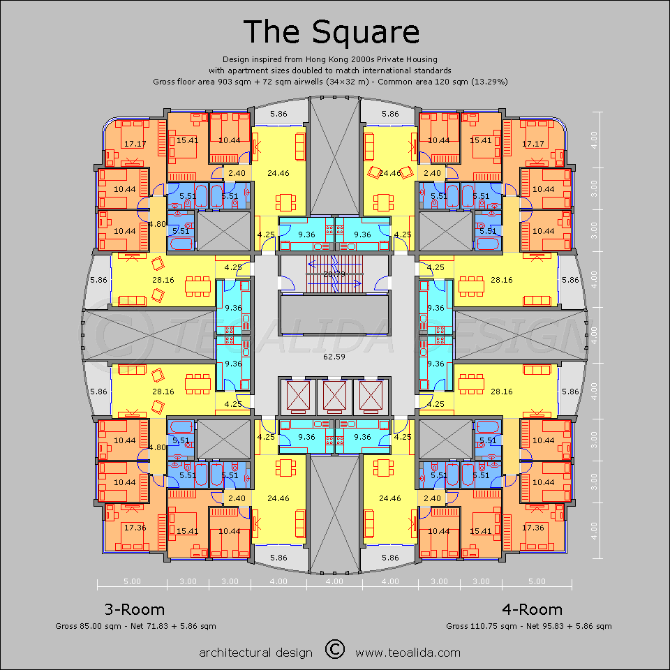 Apartment Plans 30 200 Sqm Designed By Teoalida Teoalida Website Square Floor Plans Apartment Plans Condo Floor Plans