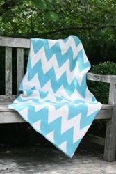 Blue Chevron Throw Blanket - Great for Spring!    Available: www.bedesignsshop.com