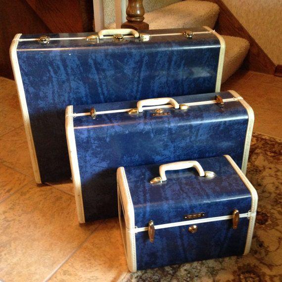 Vintage Samsonite Navy Blue Marble Luggage Set By
