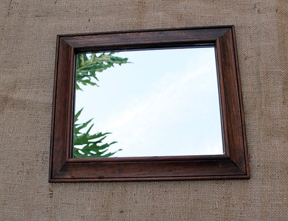 Reclaimed Wood Mirror Dark Brown Kona Stain On Distressed Handmade Teamfest