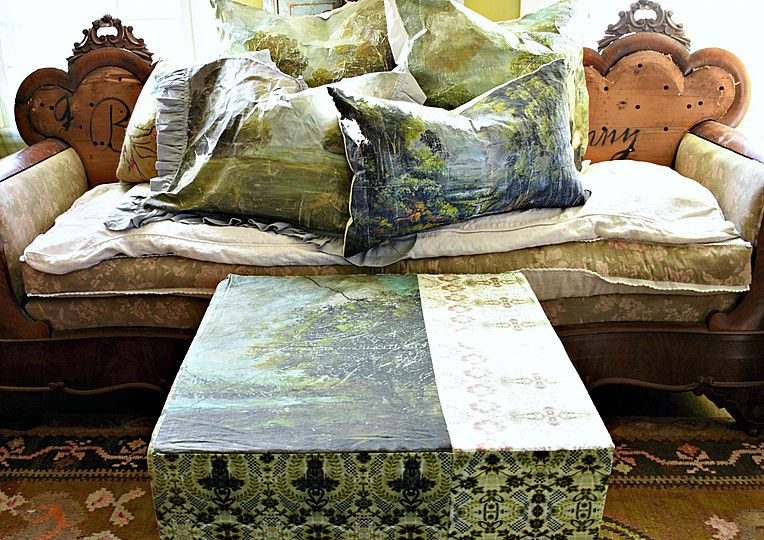 Pillows and cube tuffets for Jennifer Lanne Art At Home Collection