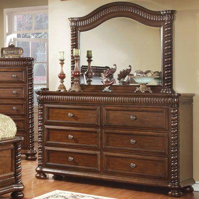 Furniture Of America Grand Eclair 6 Drawer Dresser Brown Cherry Red