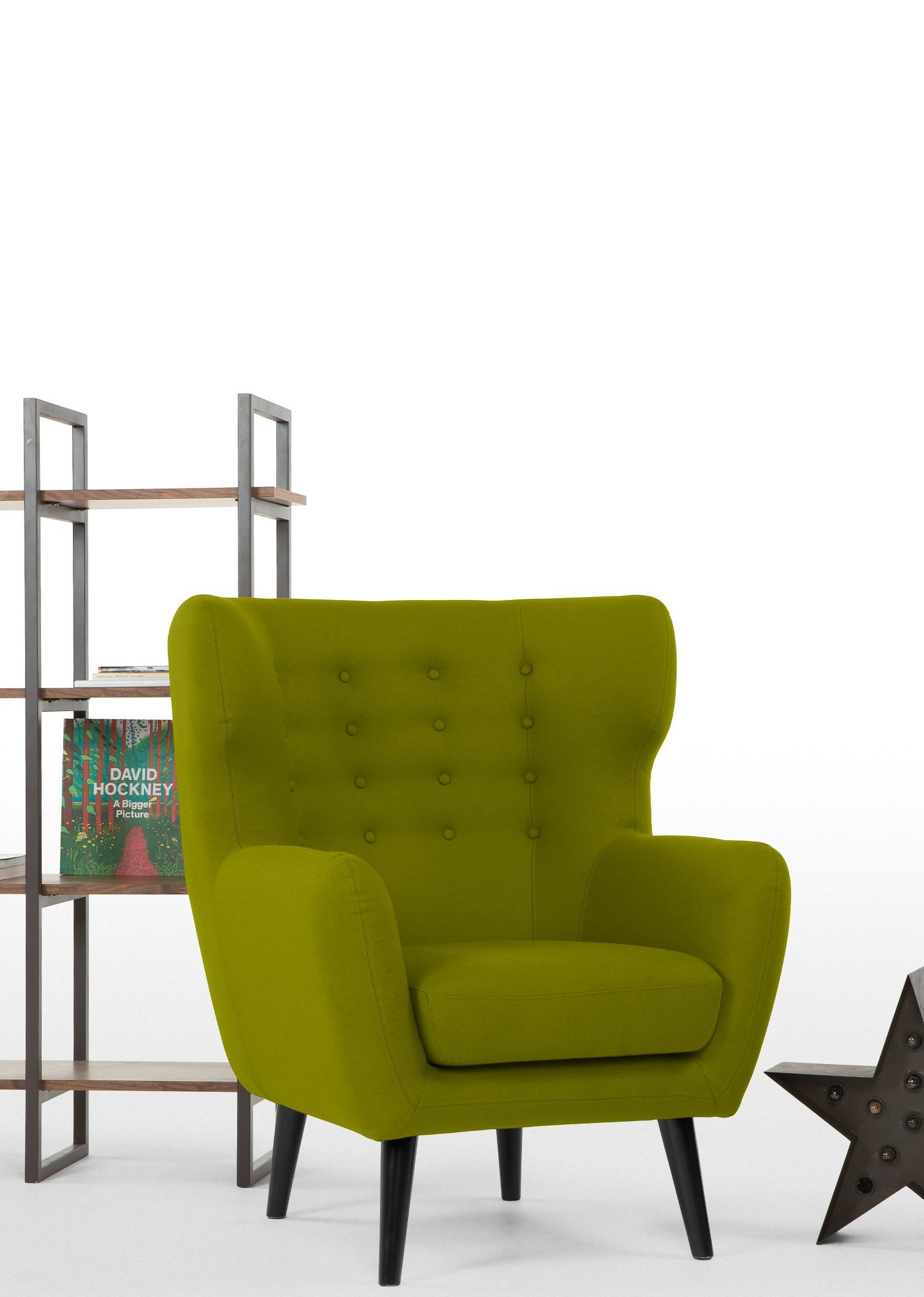 The Kubrick Wingback Armchair in Fern Green Retro 60s style