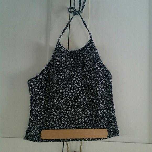 Brandy Melville blue floral sachi halter Great condition Brandy Melville Tops Tank Tops