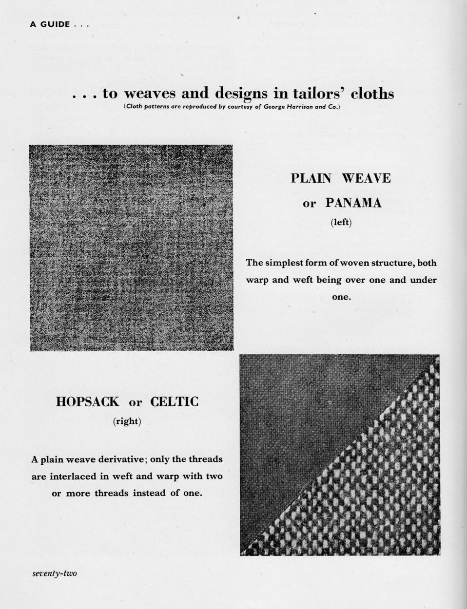 Basic Patterns and Weaves, one of many vintage suit cloth explanations from Put This On