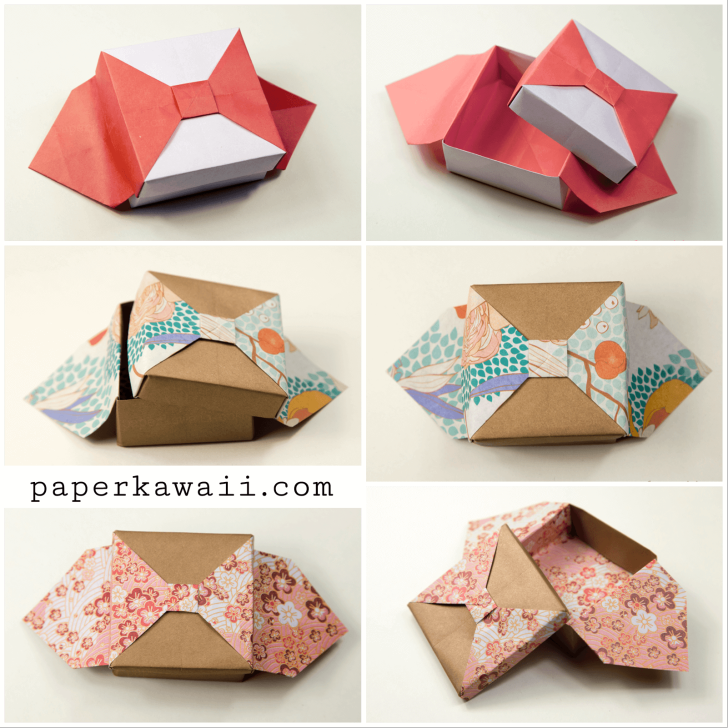 Origami Box With Bow Tutorial Origami Boxes Bow Tutorial And