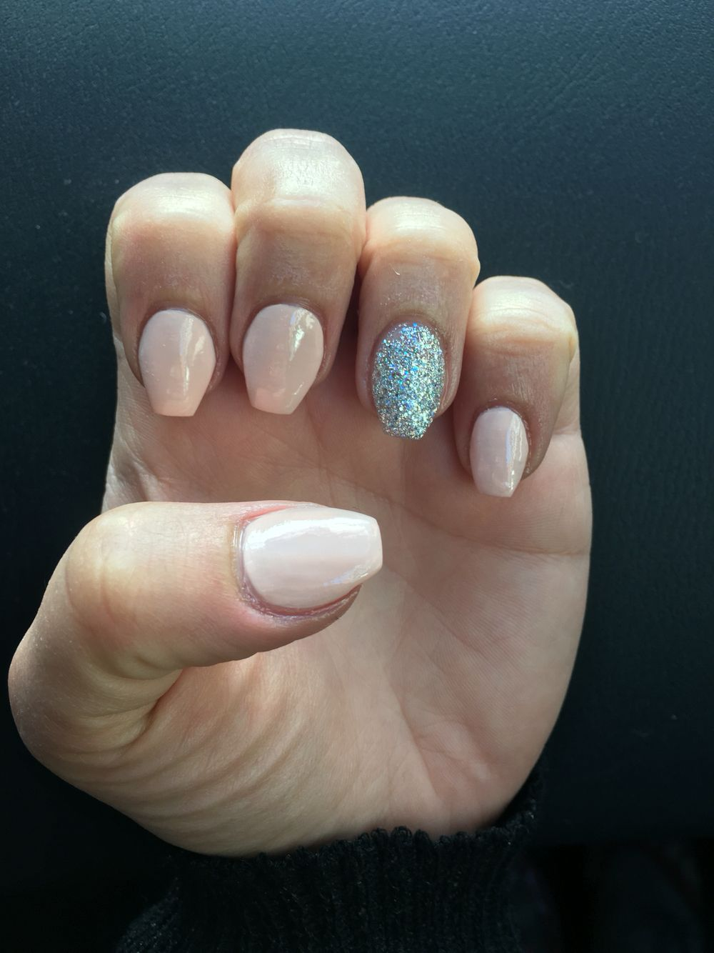 Short coffin nails. Opi stop it I\'m blushing and silver diamond ...